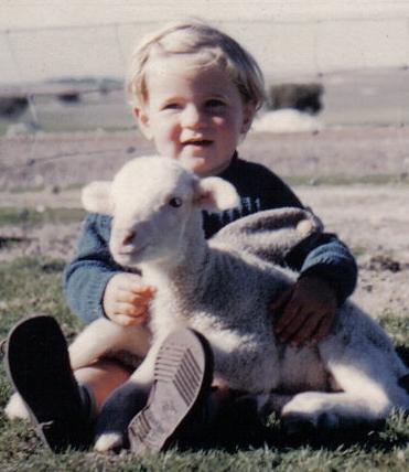 Tricia with a lamb circa 1958